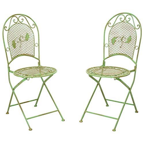 2X Nostalgia Silla de jardín Set Silla Plegable Hierro 9kg Estilo Antiguo Verde