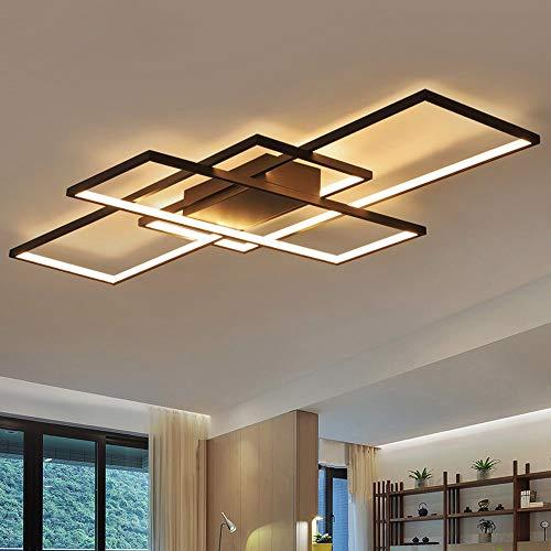Dellemade LED Deckenleuchte 3 Flammige Wohnzimmerlampe Rechteckig Deckenlampe in modernem Design, Schwarz