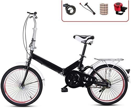 16 Pollici Bici Pieghevole Uomo Donna, Bicicletta Leggera Bici da Città Adulto Graziella Mountain Bike Portatile Folding City Bike Economica Pieghevoli Vintage, H006ZJ (Color : Black, Size : 20in)