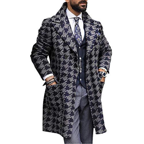 cappotto uomo a quadri YOUDE Cappotti da uomo 2020 Cappotti da uomo di media lunghezza Cappotti da uomo stampati alla moda (M