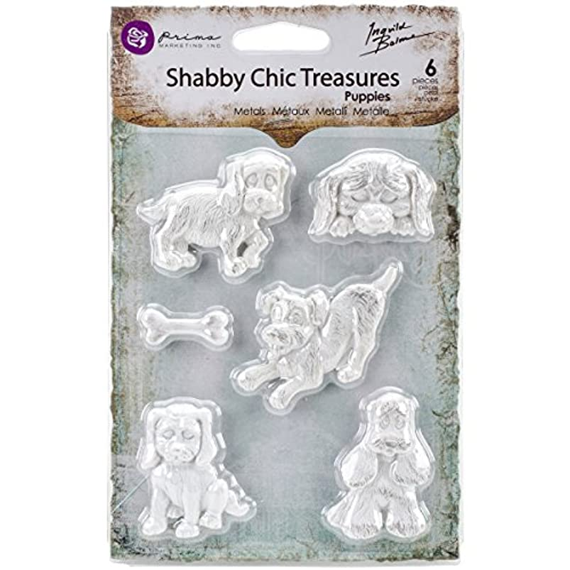 Prima Marketing RE8-92609 Shabby Chic Treasures Resin-Puppies mkjtbndw550686