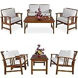 Deuba | Salon de Jardin Atlas • en Bois d'Acacia • Coussins crème | Ensemble Table et Chaise de Jardin, mobilier, terrasse