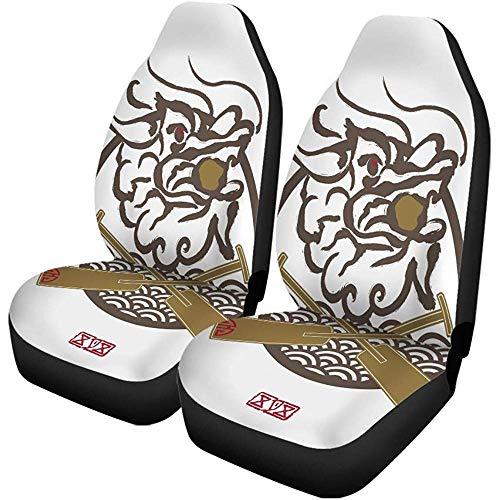 Beth-D autostoelhoezen voor Oost-Azië, draak Boat Festival Chinese tekens en zegelset met 2 accessoires voor auto