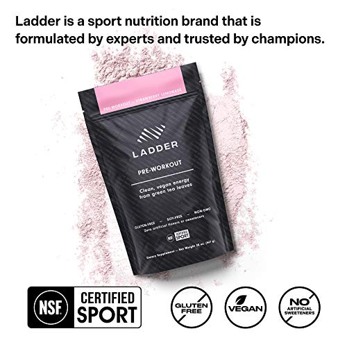 LADDER Sport Pre-Workout Strawberry Lemonade - 100mg Natural Caffeine, Beta-Alanine, Citicoline, Creatine, Theanine, No Artificial Sweeteners, 30 Serving Stand up Bag, NSF Certified for Sport