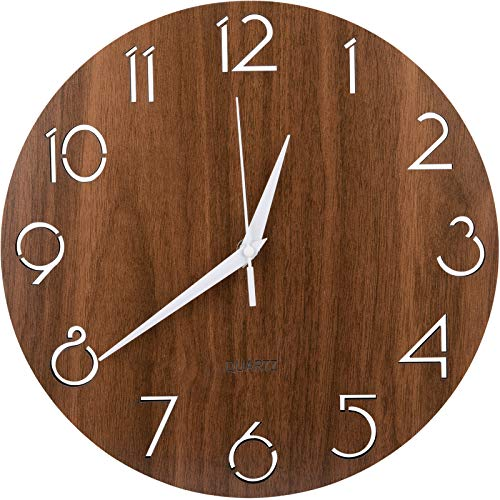 Nicunom 12 Inch Arabic Numeral Design Wooden Wall Clock, Round Rustic Country Style Wall Clocks, Silent Non-Ticking, Battery Operated, Vintage Home Decor for Kitchen/Living Room/Bedroom/Office, Brown