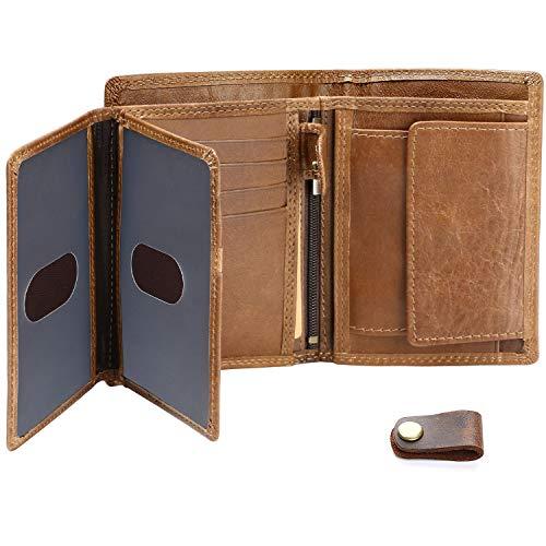 Homme RFID réel portefeuille en cuir avec fermeture éclair poche monnaie pochette et fenêtre d/'identifiant de 44 Marron