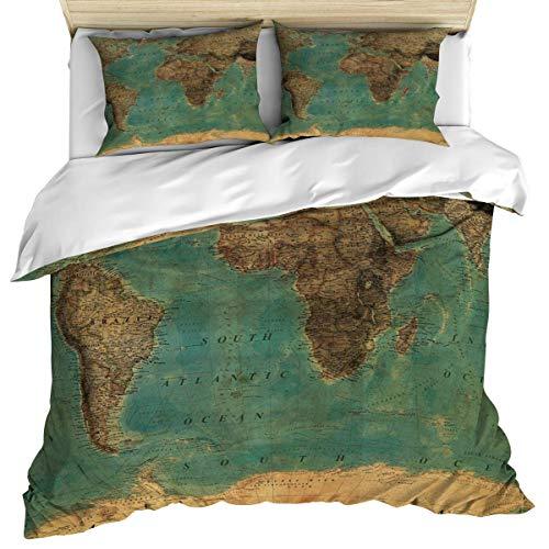 LIS HOME 3-teiliges Bettwäscheset Enthält 1 Bettbezug 2 Kissenbezüge, vergilbte Weltkarte Bettbezugset mit Reißverschluss Tagesdecke Dekorativ für Kinder/Jugendliche/Erwachsene