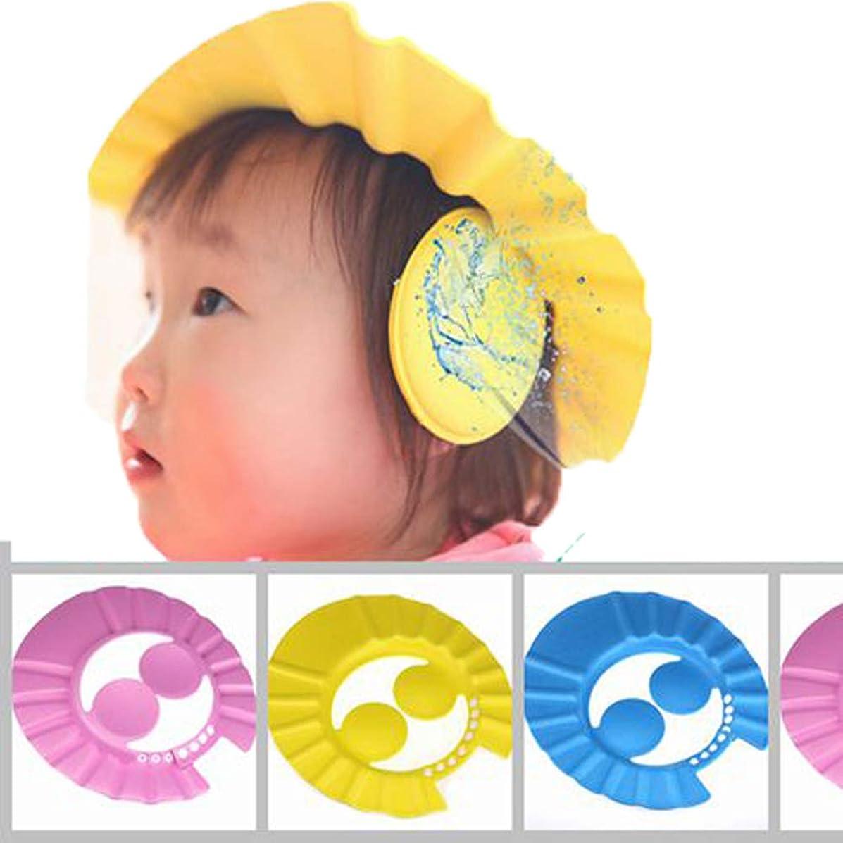 流星消去考える(デマ―クト)De.Markt かわいいシャンプーハット 耳のシールド付き ベビー キッズ 子供 シャワーキャップ シャワー用防水帽 サイズ調節可能