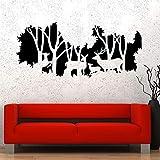 Calcomanía de pared de familia de ciervos, bosque Natural, caza de animales, vinilo, ventana, pegatina, dormitorio, sala de estar, jardín de infantes, Interior Art Deco