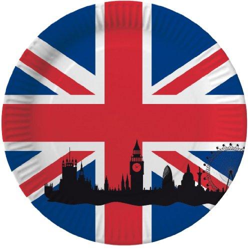 Party-Teller Großbritannien Union Jack, 10 Stück, 23 cm Durchmesser