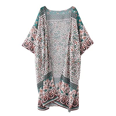 Pocciol Women's Sheer Floral Print Sheer Chiffon Loose Kimono Cardigan Capes