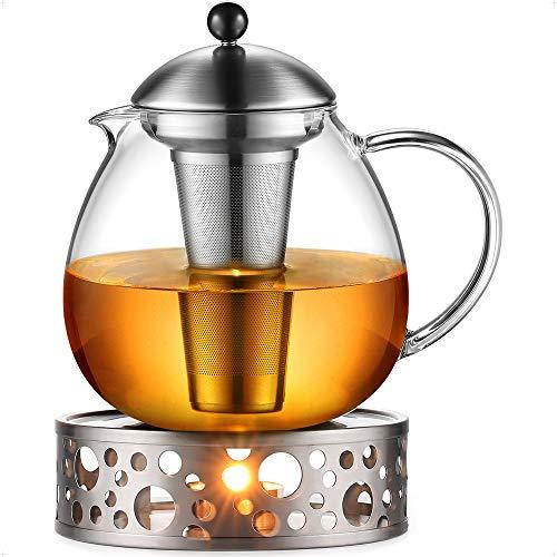 Glastal 1500ml Teekanne mit Stövchen Teebereiter Glas und Edelstahl Teewärmer Teekanne Suit