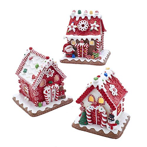 Kurt Adler Gingerbread LED Candy House Red 6 inch Claydough Christmas Figurines Set of 3
