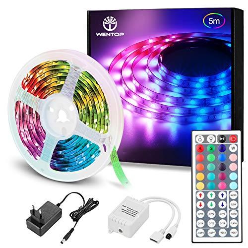 WenTop Luces LED Habitacion 5 Metros, Tiras LED RGB 5050, luz led Colores con Control Remoto, Para Decoración de Televisión, Dormitorio, Bares, Techo, 20 Colores, 8 Modos de Brillo, 6 Opciones DIY