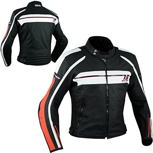 A-Pro Lederjacke Thermofutter Motorrad Sport Touring CE Protektoren Jacke Orange XL