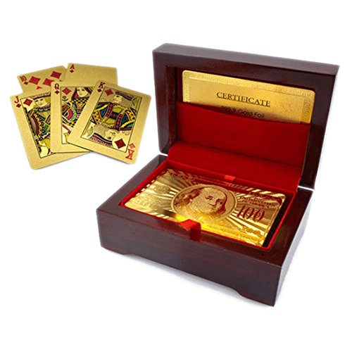 Luxurious 24K Gold Plated Playing Cards Case and Certificate with Wooden Gift Box | Make Your Magic Tricks More Luxurious & Creative Family & Friends