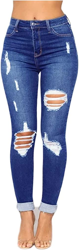 Women's Mom Jeans High Waisted Ripped Skinny Denim Pants Butt Lift Ankle Jeans Slim Fit Distressed Jeans Pants