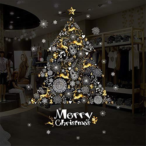 Christmas Decoration - Christmas Window Sticker/Anti-Static Vinyl Self-Adhesive Wall Decal/Christmas Decoration Sticker(Golden Christmas tree-65x90cm)