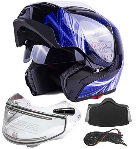 Typhoon G339 Dual Visor Modular Full Face Snowmobile Helmet With Heated Shield, Breath Box (Gloss...