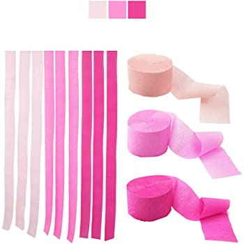 Bining Streamers Paper 216ft Long 1.77in Wide Lovely Pink kits Crepe Paper Streamers,3 Colors, Tassels Streamer Paper for Birthday Party, Class Party, Family Gathering, Thanksgiving, Christmas Decorat