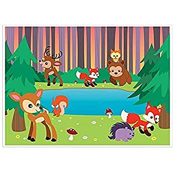 Blue Panda Photo Backdrop - Woodland Animals Photo-Booth Background with Cute Forest Animals Great for Kids Girls Boys Birthday Parties DIY Photo-Booth 5 x 7 Feet
