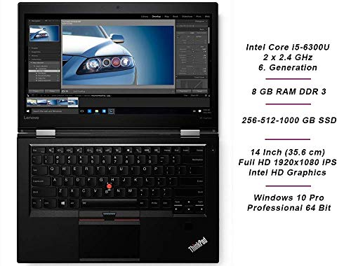 Lenovo ThinkPad X1 Carbon 4.Gen Intel i5 2 x 2.4 GHz Prozessor 8 GB Arbeitsspeicher 1000 GB SSD 14 Zoll Dispaly Full HD 1920x1080 IPS Cam Windows 10 Pro UUK (Generalüberholt)