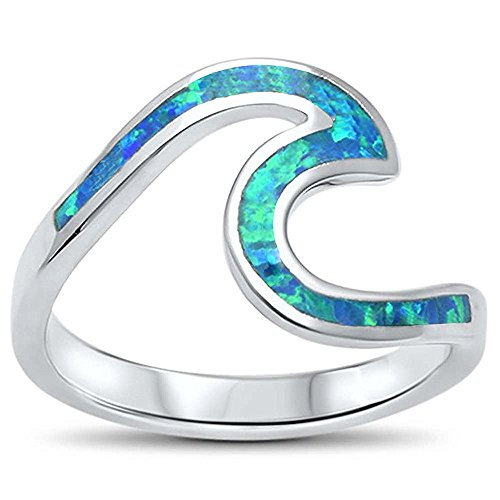 Oxford Diamond Co Wave Ocean Beach Lab Created Opal .925 Sterling Silver Ring Sizes 4-12 Colors Available (Lab Created Blue Opal, 6)