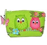 Eule - Geldbörse / Kosmetiktasche / Utensilientasche - 3-D Filztasche - grün für Kinder u. Erwachsene - Utensilio Eulen - kleines Etui / Eulentasche - Blumen ..