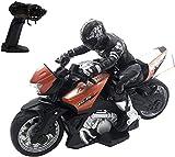 Deportes al Aire Libre 1/10 Control Remoto Motocicleta Juguete Truco Realización de Coches Juguetes Recargable Motor RC Bicicleta Seguro y Duradero Cumpleaños niños Niños Niñ