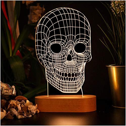 Lámpara de noche 3D en forma de calavera. Lámpara de noche de ilusión 3D con diseño de calavera. Lámpara de escritorio acrílica regalo para amigo.