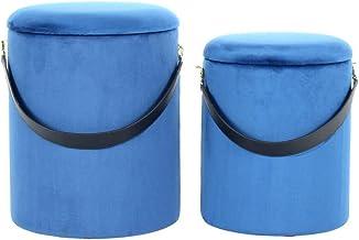One Couture Fluwelen kruk Velvet poef met opbergruimte & draagriem rond blauw goud set van 2