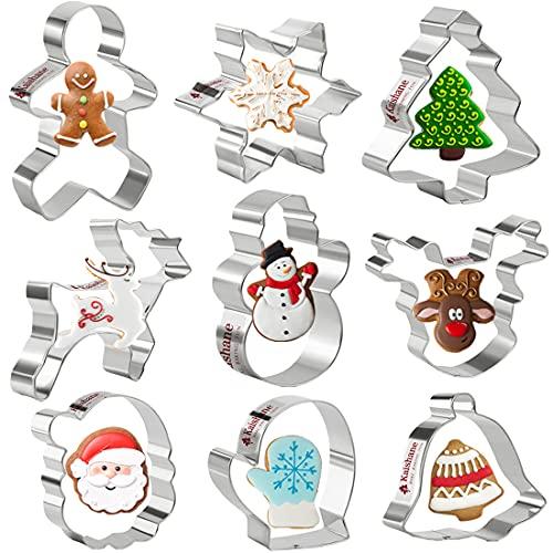 Olywee Lot de 9 emporte-pièces de Noël en acier inoxydable,