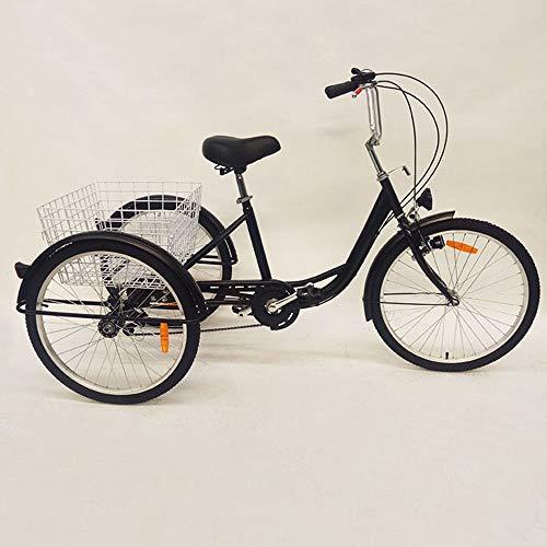 Wangkangyi Triciclo Para Adultos Con Luz y Cesta 6 Velocidades 24 Pulgadas 3 Ruedas Para Adultos Mayores Ancianos
