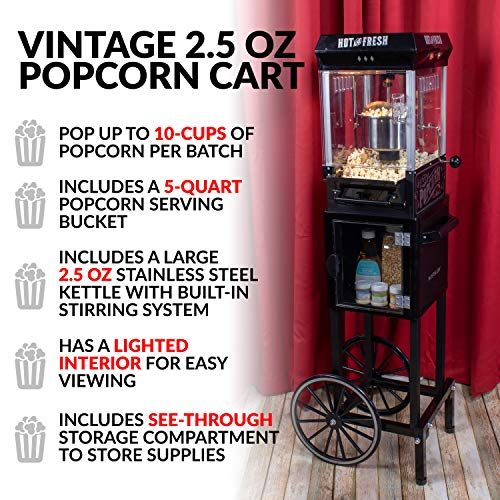 Product Image 3: Nostalgia KPM220CTBK 2.5 oz Professional Popcorn & Concession Cart with 5 quart Bowl, 45″ Tall, Makes 10 Cups, with Kernel & Oil Measuring Spoons & Scoop, 11″ Wheels for Easy Mobility, Black