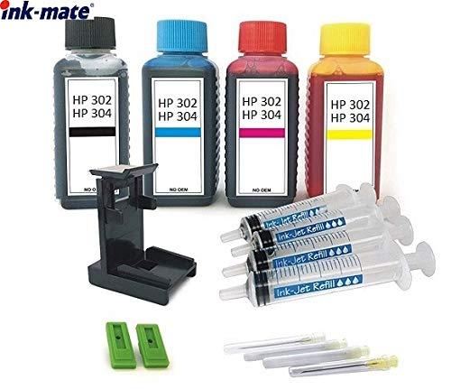 Tintenpatronen Nachfüll-Set - 4 x 100 ml Premium Refill-Tinten für Drucker-Patronen HP 302 und HP 304 black und color. Je 100 ml black, cyan, magenta, yellow, mit Clip, Befüll-Anleitung, Zubehör