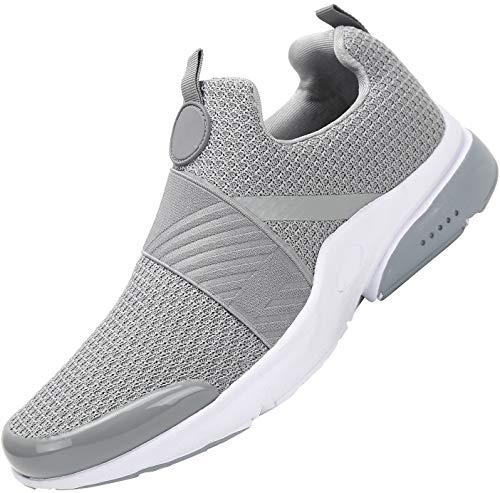 Mishansha Hombre Mujer Zapatillas de Deportivos Interior Exterior Respirable Malla Conveniente Ponerse Gimnasia Calzados Zapatilla de Calle Elástico Flexible Running Shoes, Gris 36