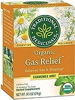 Traditional Medicinals オーガニックGas Relief ガスリリーフ カフェインフリー カモミールミント 個包装ティーバッグ16袋 24g 0 85オンス