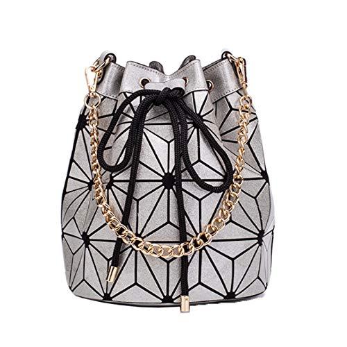 Ladies Geometric Rhombus Handbag Chain Bucket Bag Shoulder Bag Female Luminous Bag(Size:30 * 19 * 25cm,Color:Silver)