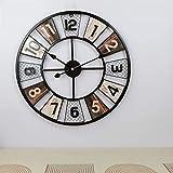 FENGJJ Reloj de Pared, Reloj de Pared de Metal de Gran tama�