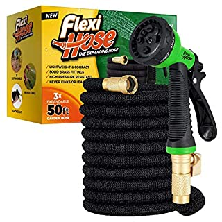 Flexi Hose with 8 Function Nozzle, Lightweight Expandable Garden Hose, No-Kink Flexibility, 3/4 Inch Solid Brass Fittings and Double Latex Core (B08QTQFQ38) | Amazon price tracker / tracking, Amazon price history charts, Amazon price watches, Amazon price drop alerts