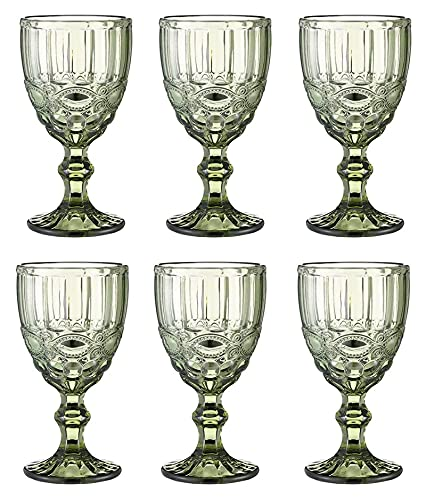 LPQSY Copas de Vino 10 oz Vasos de Vidrio Tinto Copas de Vino Postre Helado Cuenco Set 3 / 6pieces, Fiesta de Bodas Copos de Cristal de Colores Vendimia Diseño en Relieve Glassware, Verde