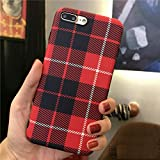 Red Plaid iPhone 6s Case,Easeu Women's Soft TPU Super Slim Fit Silicone Anti-Scratch Snap Cover Flexible Case for iPhone 6/iPhone 6s 4.7 inch