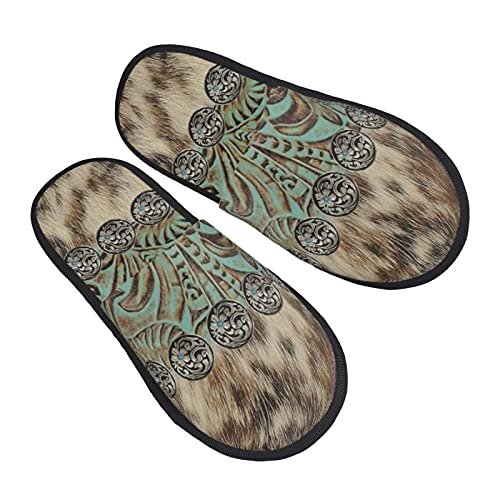 Rustic Brown Teal Western Country Tooled Leather Womens Plush Fleece Slippers Soft Anti Skid House Shoes for Indoor & Outdoor Casual printed Slip-on