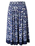Chicwe Women's Plus Size Calf Length Flared Elastic Waist Skirt - Casual and Work Skirt 1X