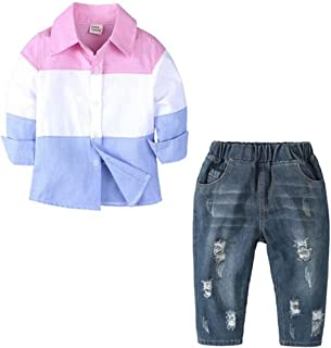 EGELEXY Kids Toddler Baby Boys Outfits Long Sleeve Shirt Ripped Denim Jeans Clothing Set