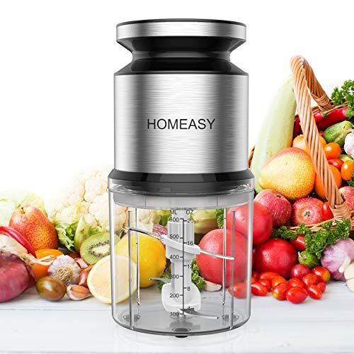 HOMEASY Zerkleinerer 0.6L Universalzerkleinerer 300W Elektrisch Zwiebelschneider Handlicher Mini-Multizerkleinerer mit 4 Klingen für Fleisch, Zwiebeln, Obst, Gemüse