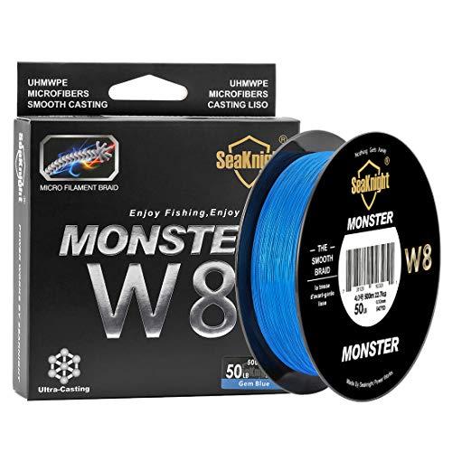 SeaKnight Monster W8 Filo da Pesca trecciato 8 Fili 300m/500m, Filo Super Liscio in PE multifilamento trecciato, per Pesca in Mare 15 – 45 kg