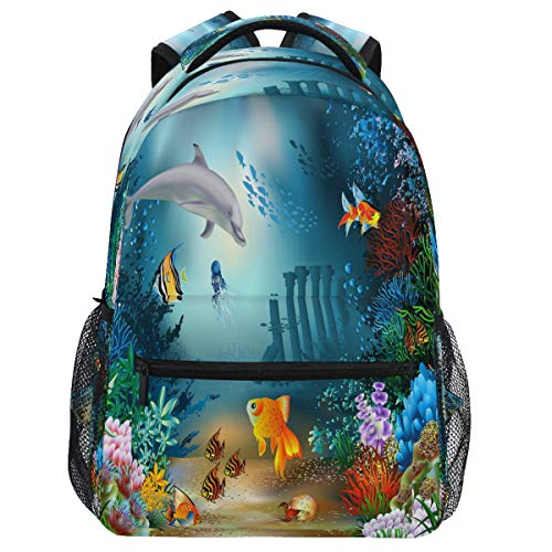 Oarencol Mochila de delfines del mundo subacuático de pescado, mochila de viaje, senderismo, camping, escuela, portátil