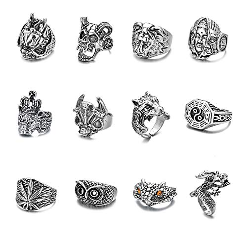 10 PCS Vintage Punk Rings for Men Gothic Dragon Claw Octopus Cobra Snake Rings Open Adjustable Ring Set Jewelry