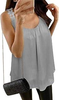 desolateness Women Round Neck Fashion Solid Color Chiffon Shirt Sleeveless Shirt Suspenders Vest Top